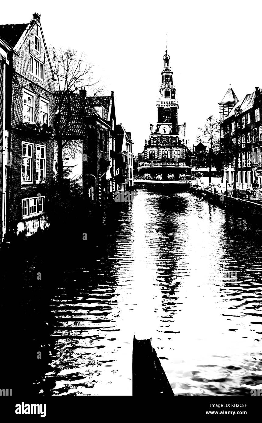 Alkmaar cityscape, black and white high contrast image - Stock Image