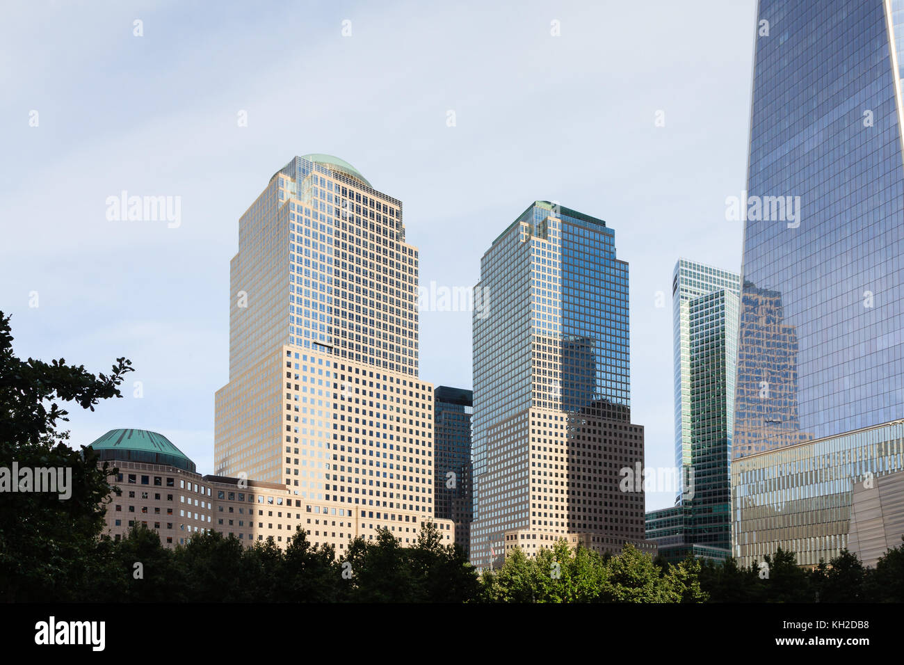 A view of Two and Three World Financial Centers in Manhattan, New York City. Stock Photo