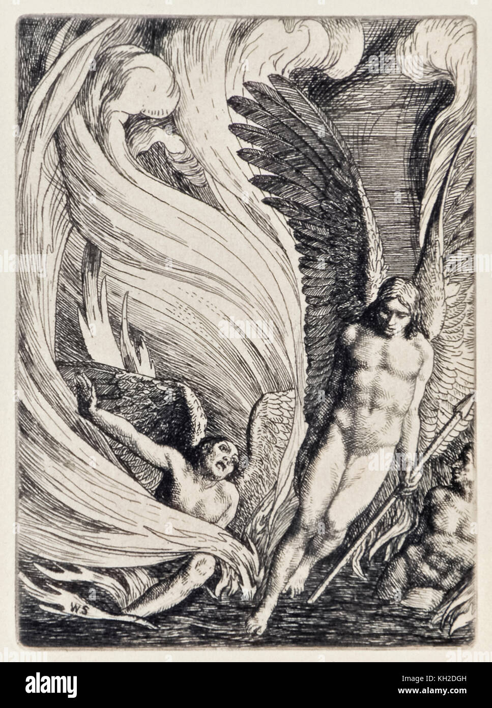 """Satan Rising from the Burning Lake"" from 'Paradise Lost' by John Milton (1608-1674) a series of 12 illustrations - Stock Image"