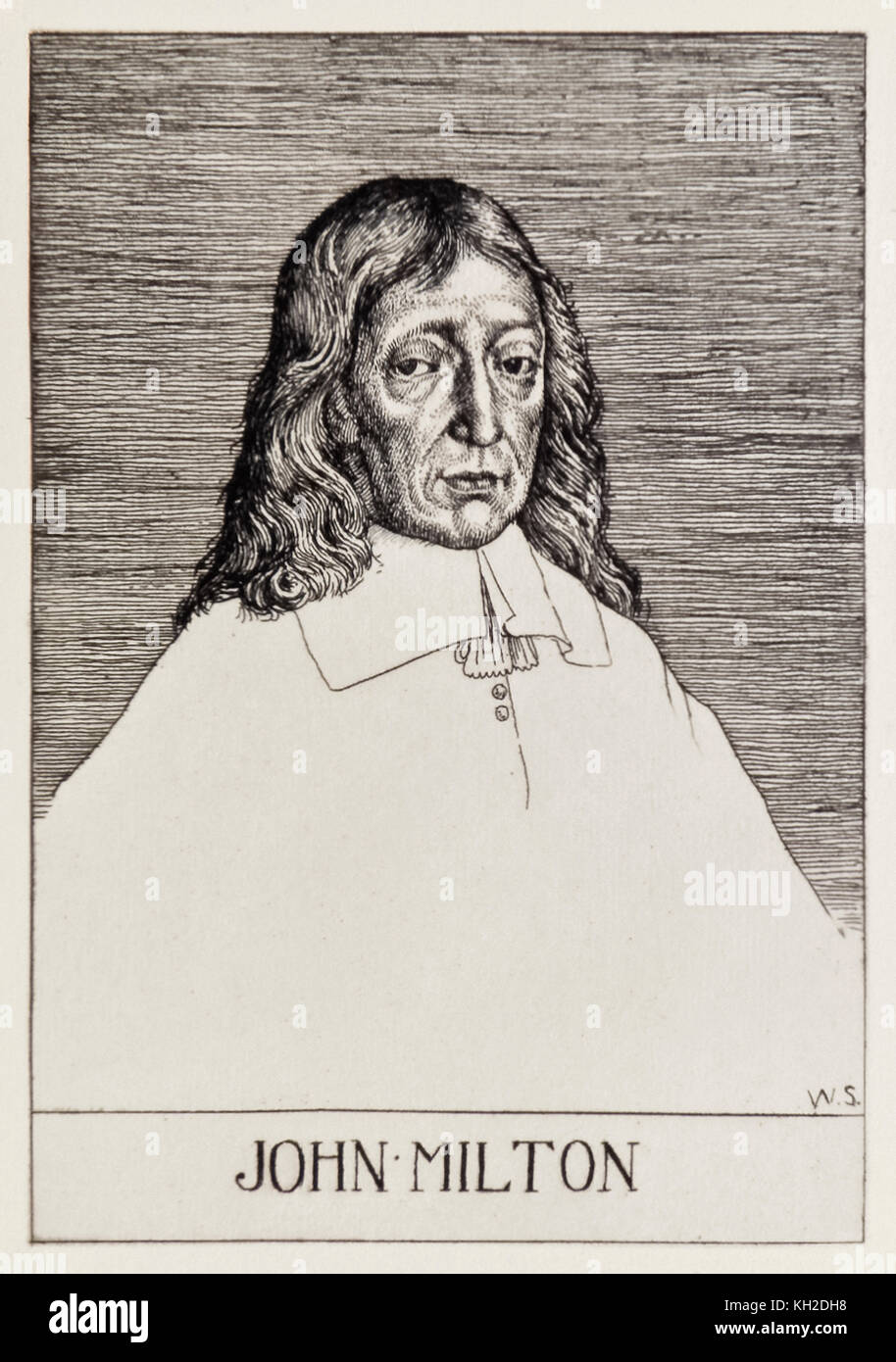 Frontispiece portrait of John Milton (1608-1674) from 'Paradise Lost' by a series of 12 illustrations etched by - Stock Image