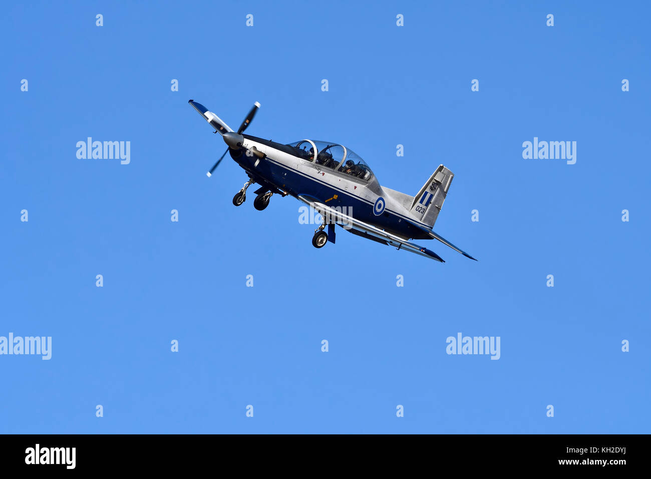 Daedalus Demo Team of Hellenic Air Force flying a T-6A Texan II at Athens Flying Week 2017 air-show in Tanagra Air - Stock Image