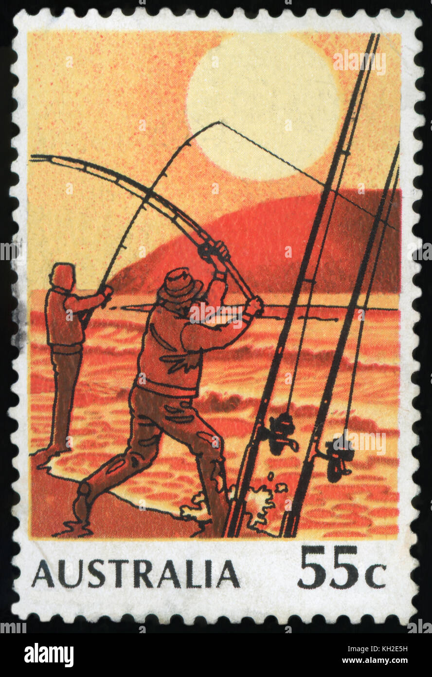 AUSTRALIA - CIRCA 1979:A Cancelled postage stamp from Australia illustrating Fishing in Australia, issued in 1979. - Stock Image