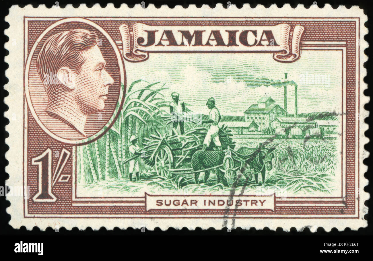 JAMAICA - CIRCA 1981: a stamp printed in Jamaica shows World Food Day, Sugar Industry, circa 1981 - Stock Image
