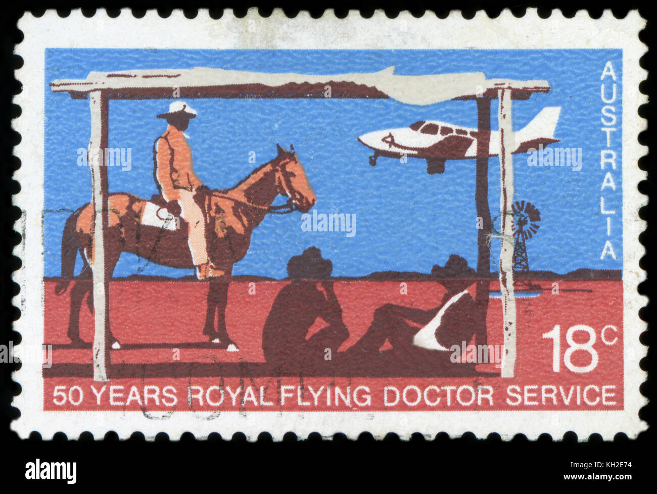 AUSTRALIA - CIRCA 1978: A stamp printed in Australia shows the Beechcraft Baron landing, Royal Flying Doctor Service, - Stock Image
