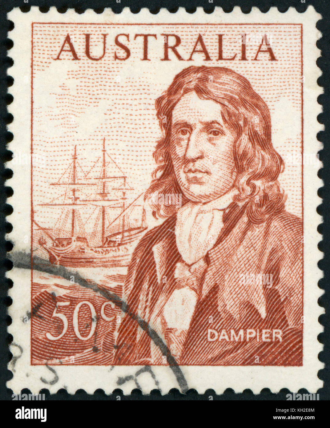 AUSTRALIA - CIRCA 1966: A used postage stamp from Australia, depicting an illustration of Explorer William Dampier, - Stock Image