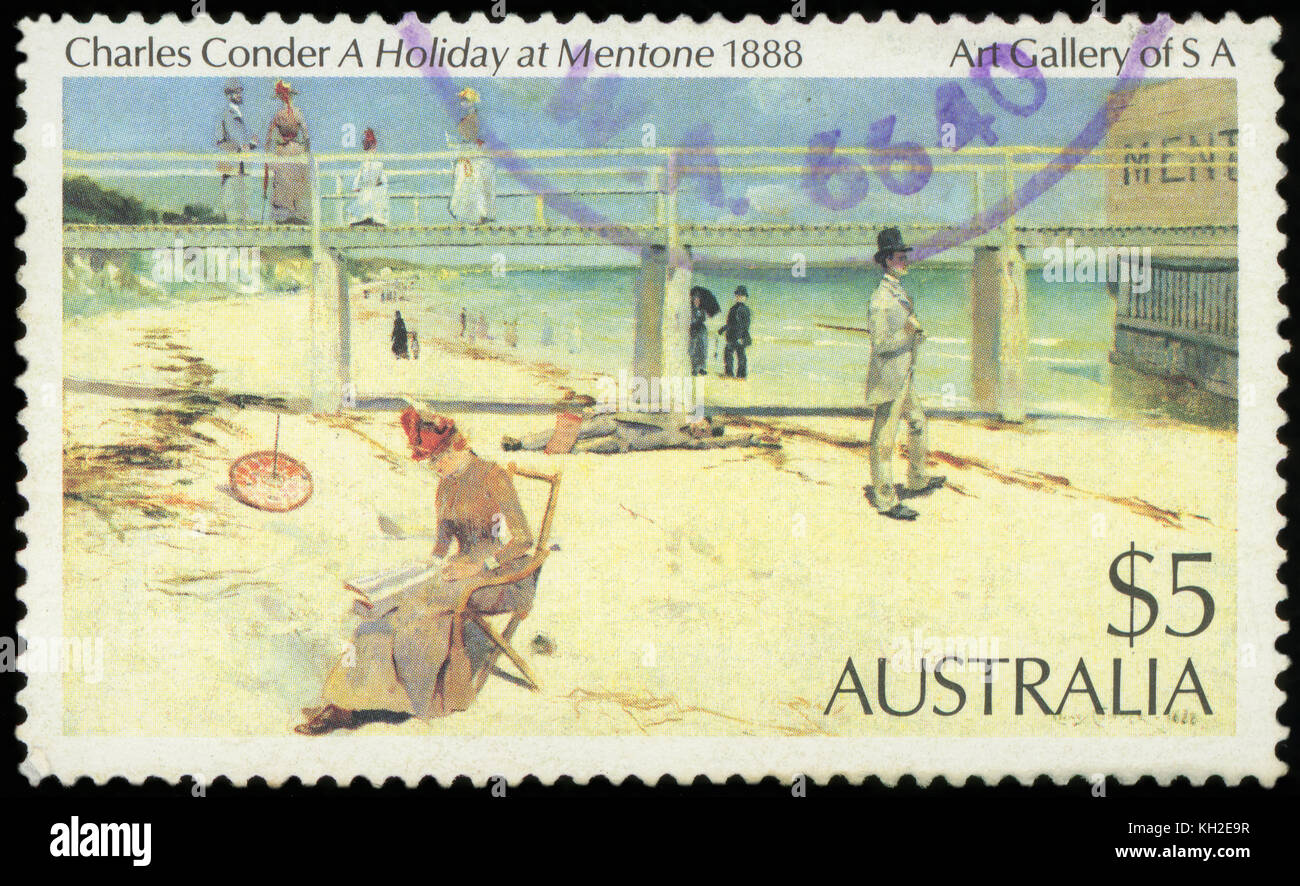 AUSTRALIA - CIRCA 1984: Postage stamp printed in Australia with image of a 1888 painting, A Holiday at Mentone, - Stock Image