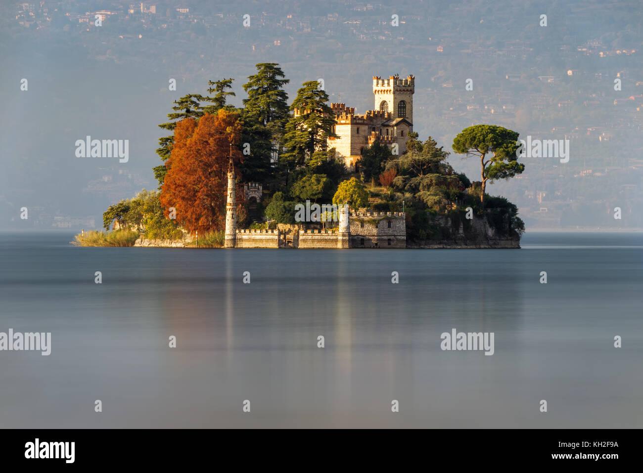 Little island Isola di Loreto on Iseo Lake, Italy - Stock Image