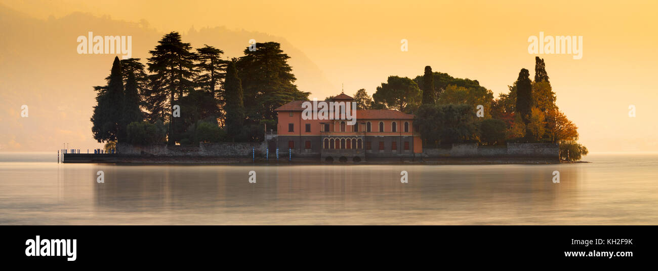 San Paolo island on Iseo Lake in sunset, Italy - Stock Image