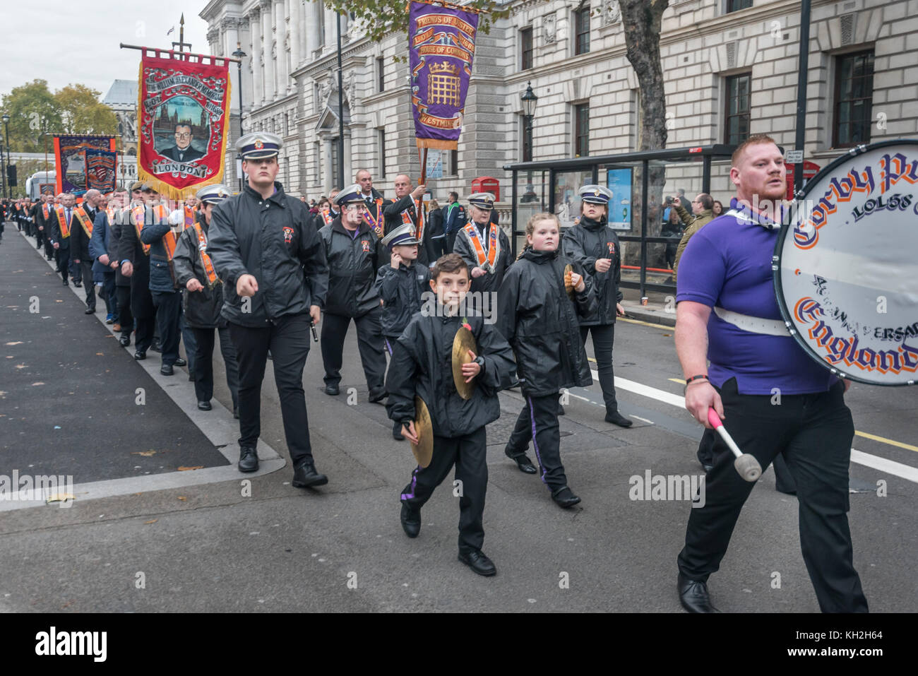 London, UK. 11th November 2017. London City District No 63 and the Houses of Parliament Lodge march along Whitehall - Stock Image