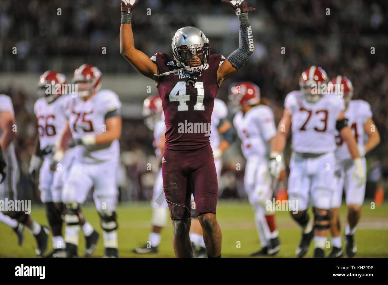 November 11, 2017; Starkville, MS, USA; MSU DB, MARK Mc Laurin (41), celebrates an MSU touchdown during NCAA D1 - Stock Image