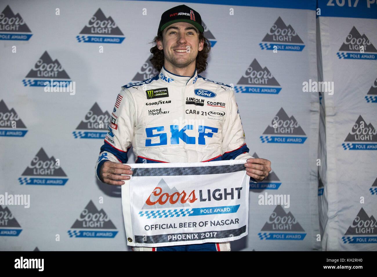 Avondale, Arizona, USA. 10th Nov, 2017. November 10, 2017 - Avondale, Arizona, USA: Ryan Blaney (21) wins the pole - Stock Image
