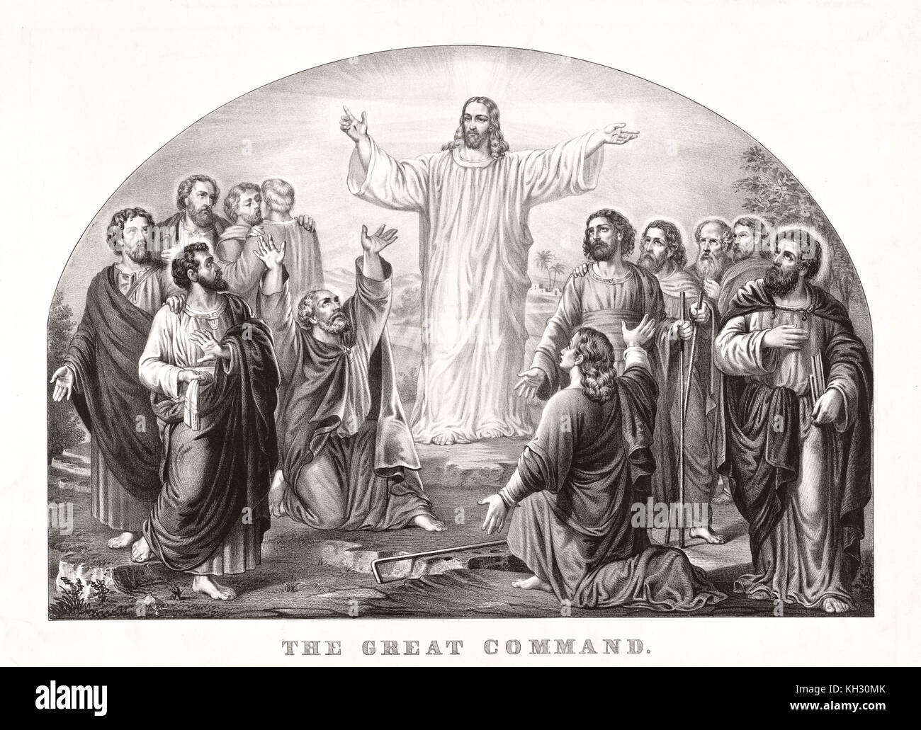 Old illustration depicting Jesus Christ preaching his Love Great Commandment to disciples. By Currier & Ives, - Stock Image