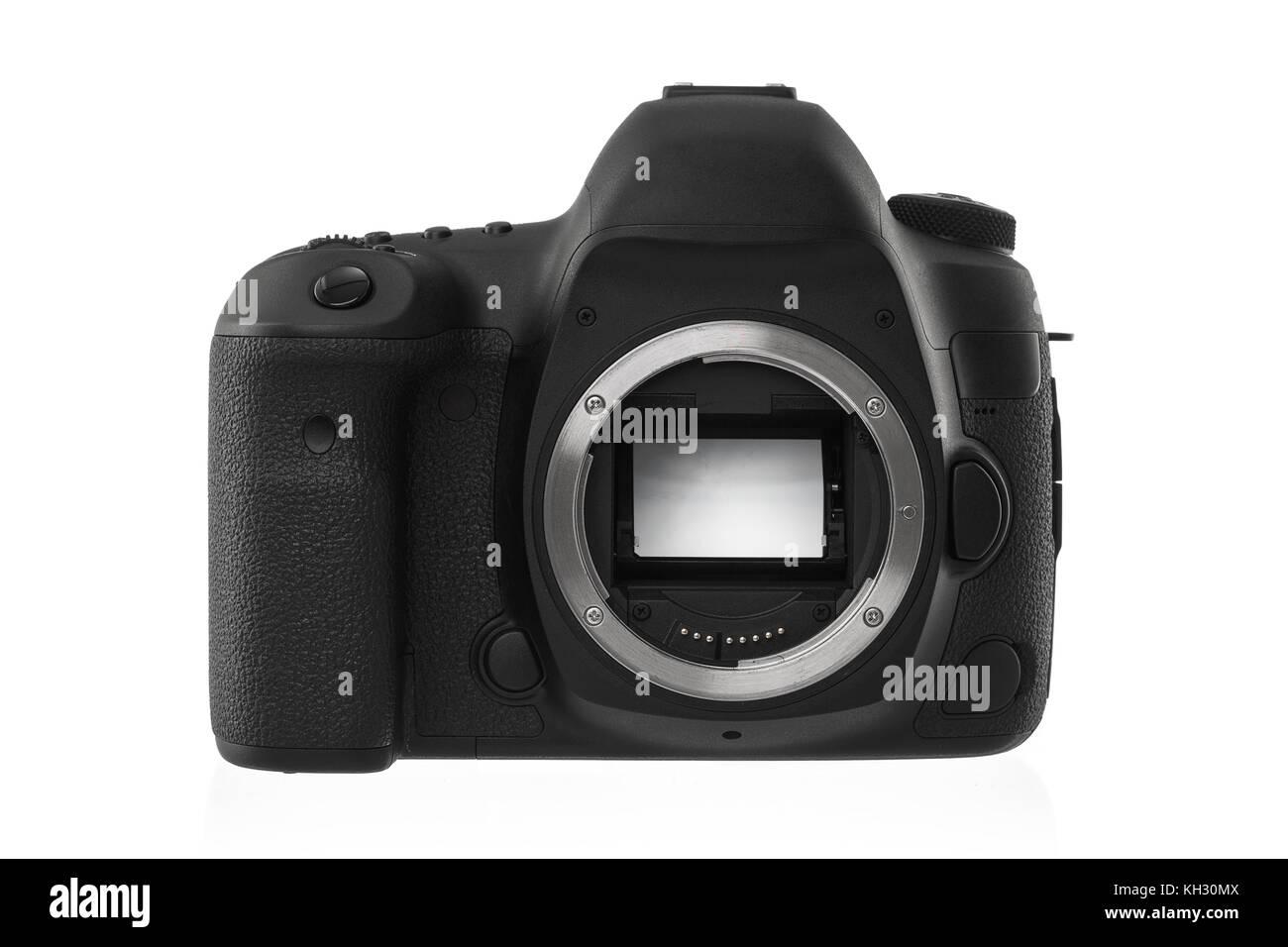 Isolated SLR camera on a white background - Stock Image