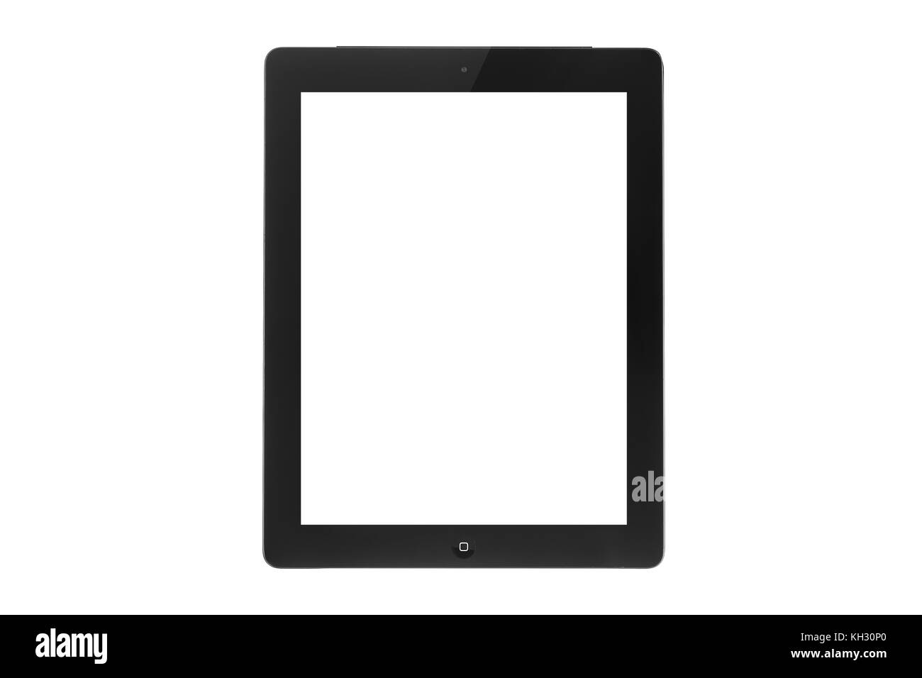 Black touch screen tablet in iPad style with blank screen area for copy space. - Stock Image