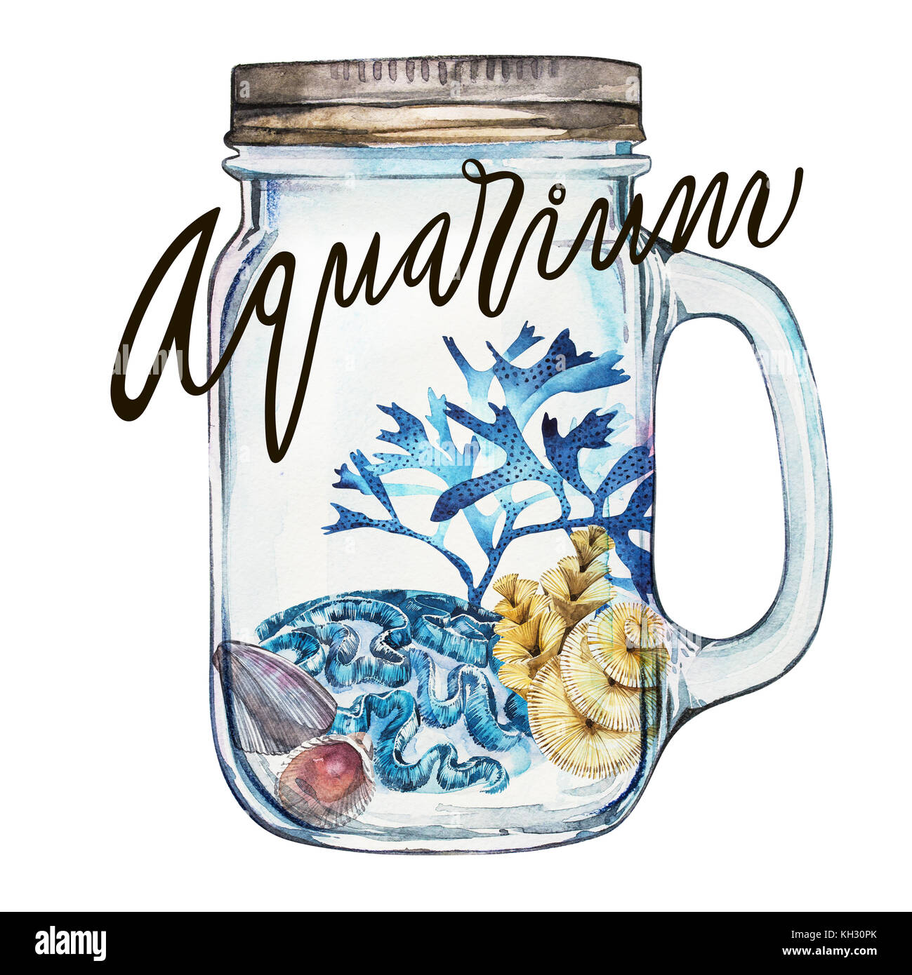 Word-aquarium. Compositions Seaweed sea life and corals object isolated on white background. Watercolor hand drawn - Stock Image