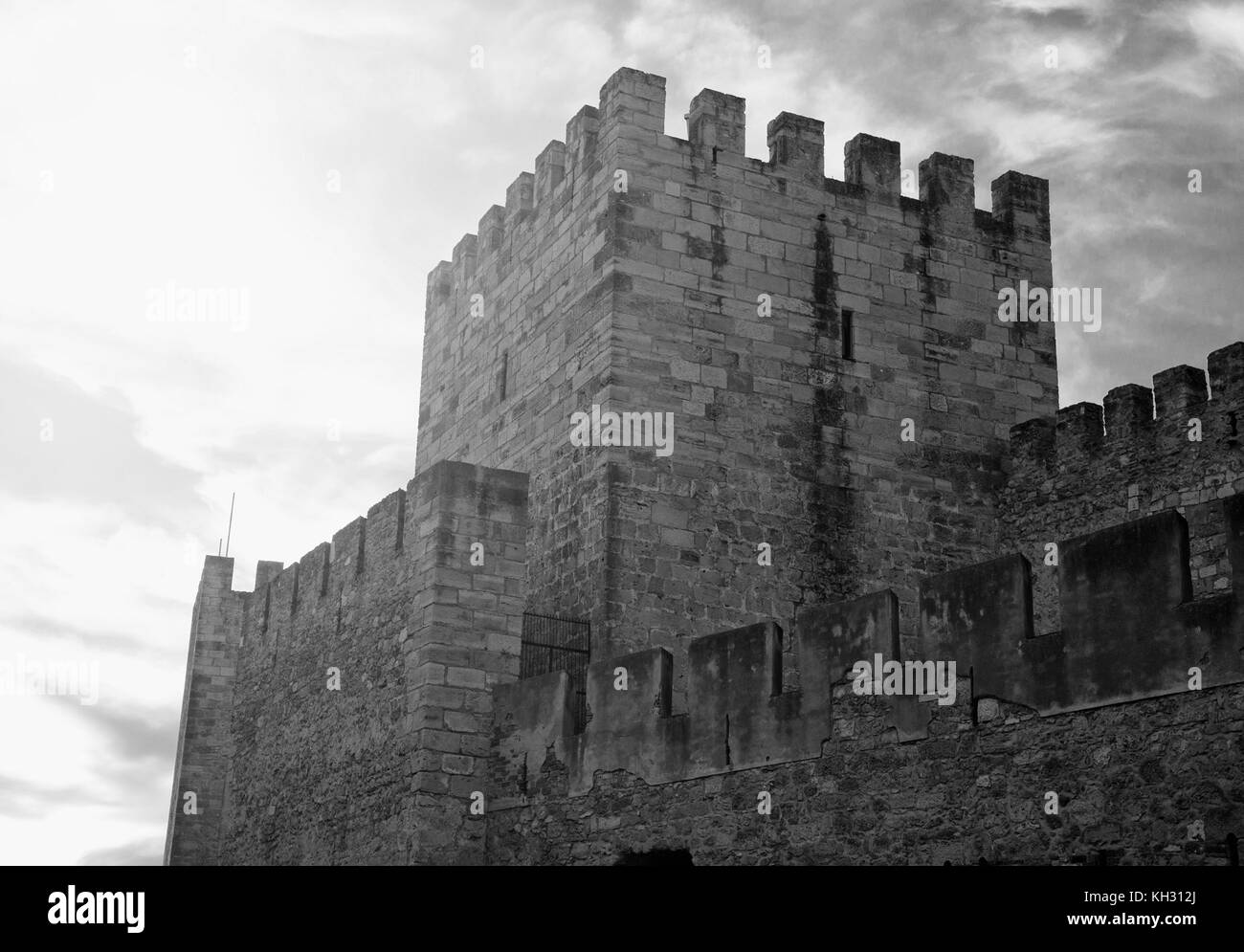 Castle of St. George in Lisbon, Portugal. Black and white. - Stock Image