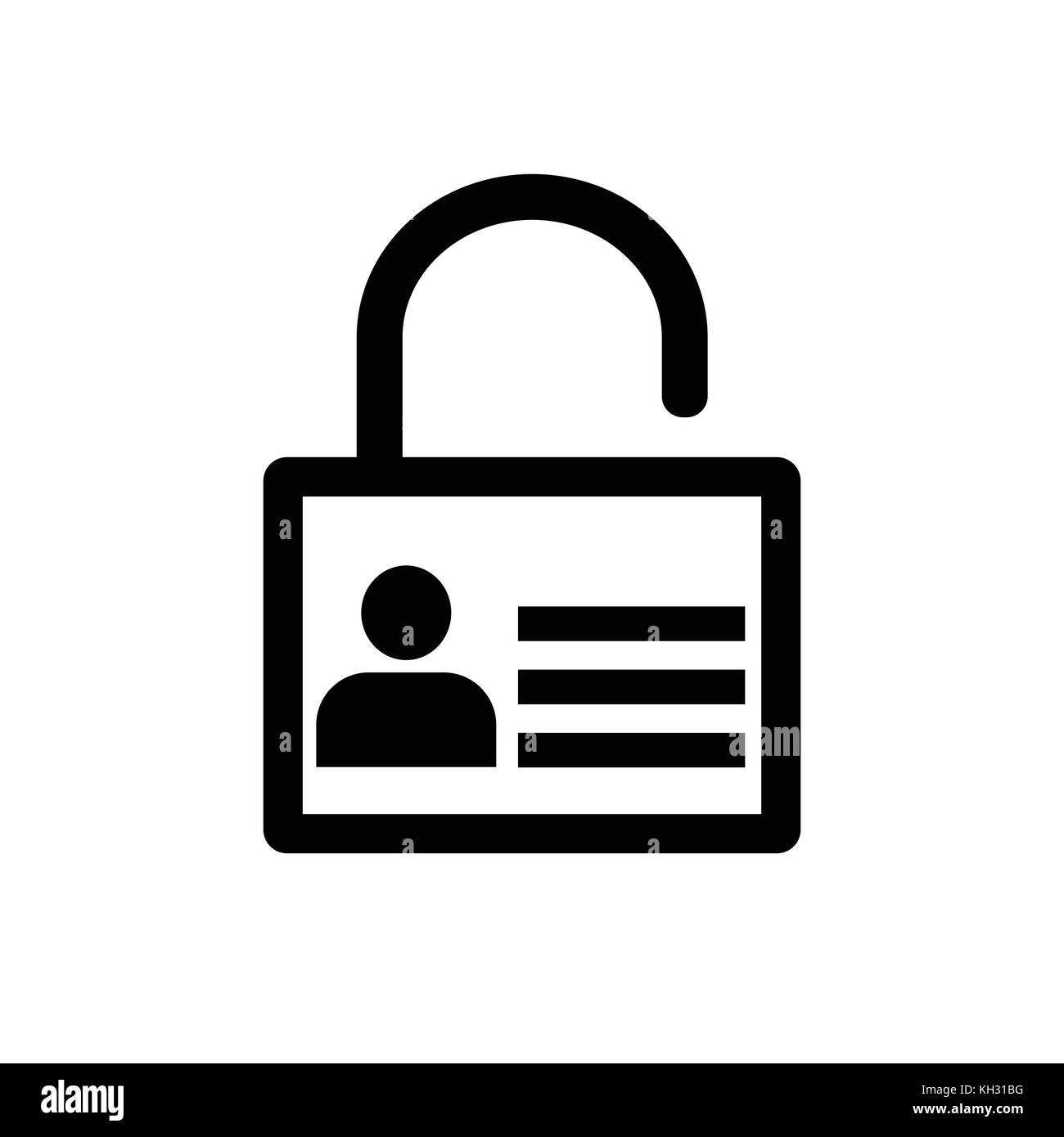 Lock icon, User icon on key, Personal protection icon. Internet privacy protection icon. Password protected. Security - Stock Image