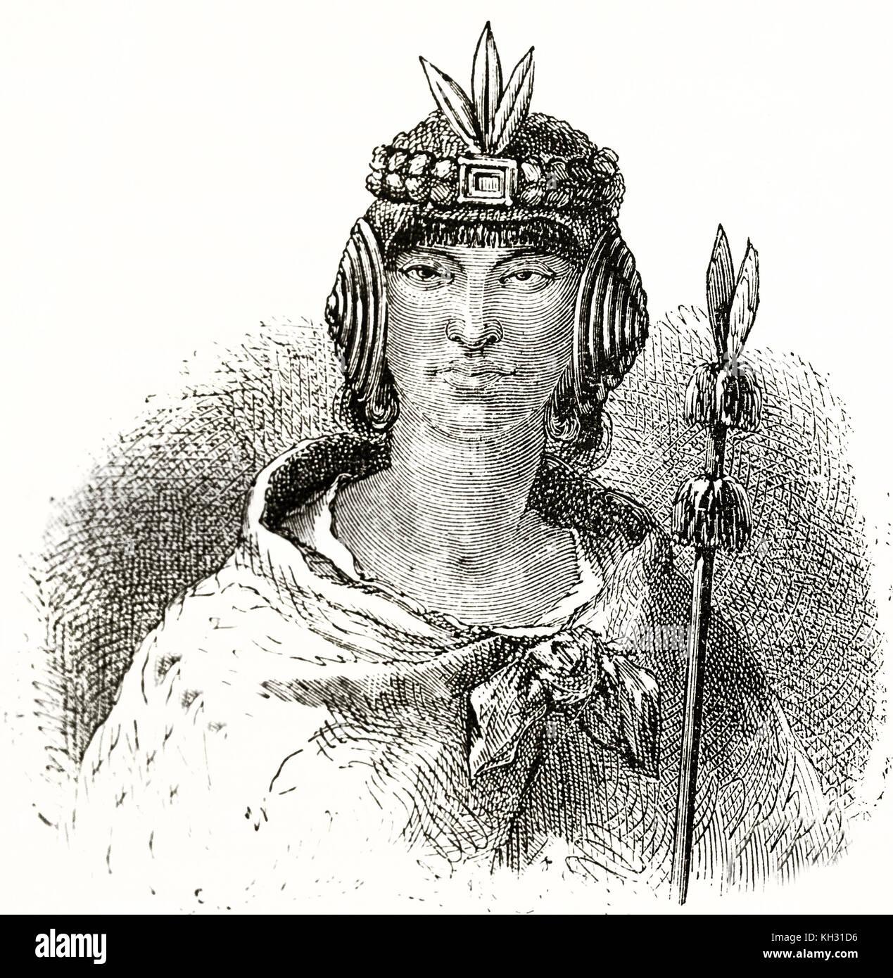 Old engraved portrait of Lloque Yupanqui (13th century) third Sapa Inca. By Riou, publ. on le Tour du Monde, Paris, - Stock Image