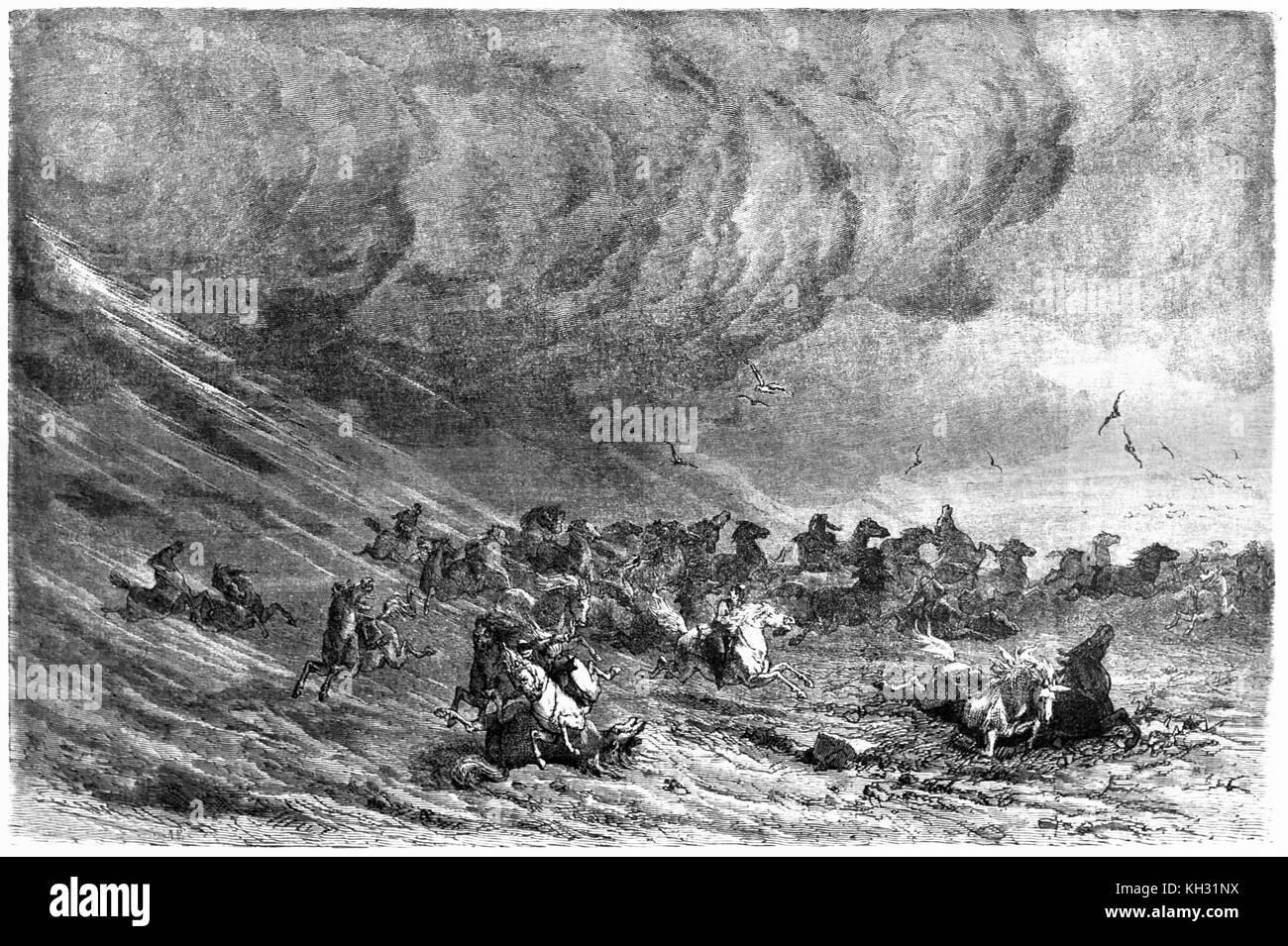 Old view of sandstorm in Mongolian steppe. By D'Argent after Atkinson, publ. on le Tour du Monde, Paris, 1863 - Stock Image