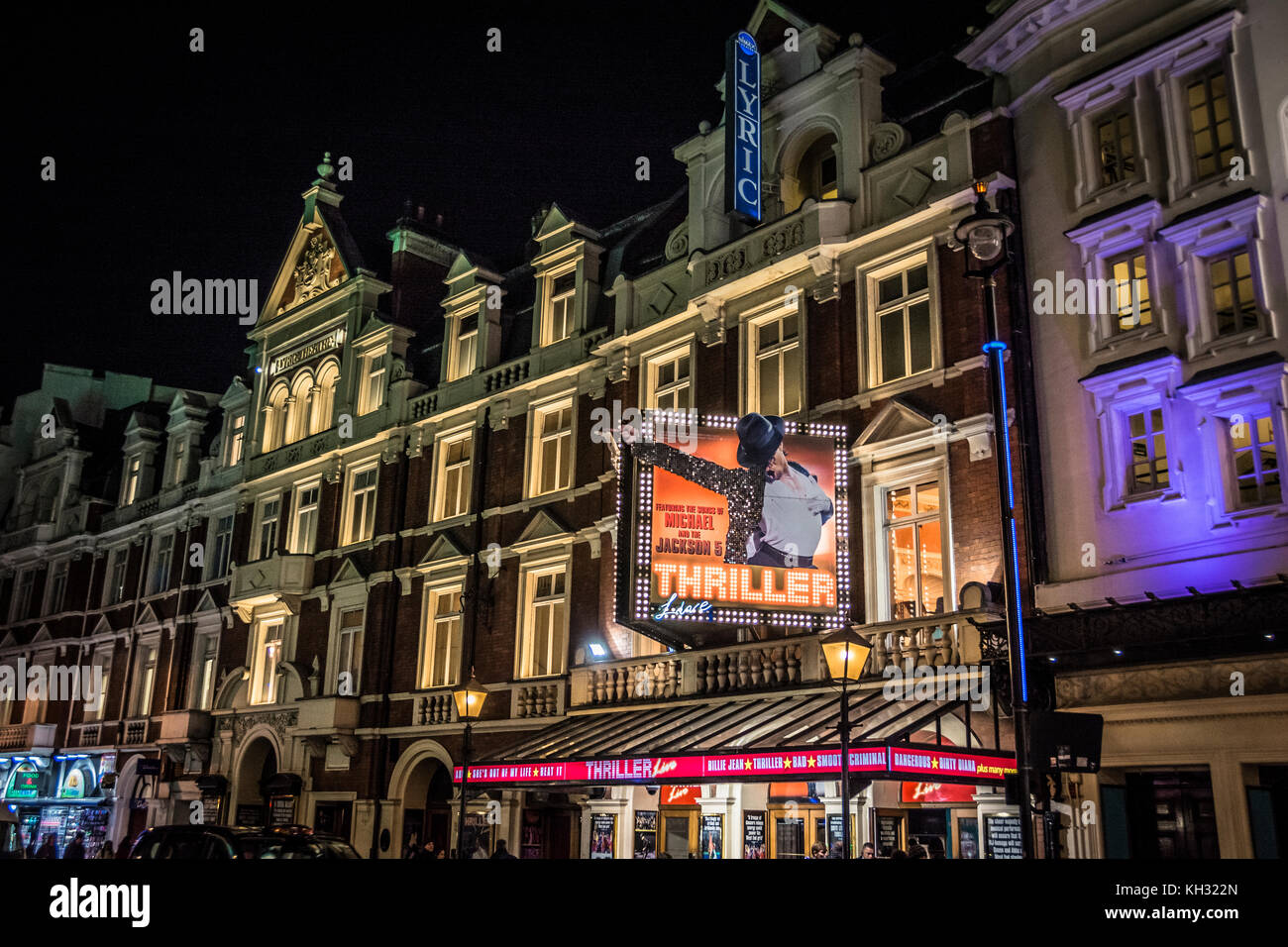 Thriller and Jamie on Shaftesbury Avenue in London's theatreland. - Stock Image