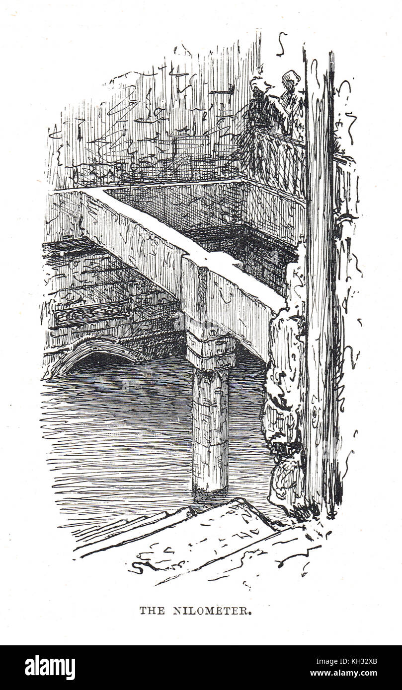 A Nilometer in 19th century Egypt - Stock Image