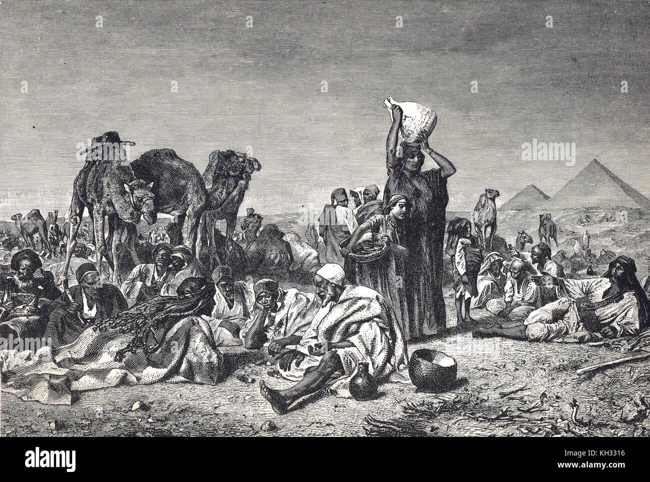 An Arab Bedouin camp desert scene, in the 19th century - Stock Image