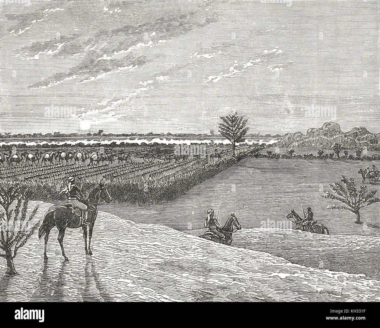 Hicks Pasha expeditionary force to Kordofan, 1883, breaking camp at sunrise - Stock Image