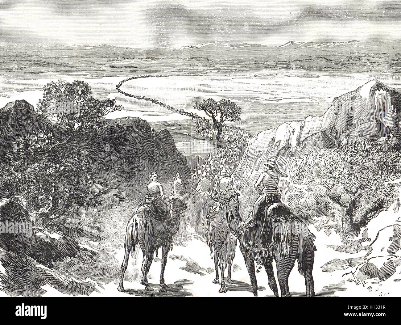 The march through the Desert, Hicks Pasha expeditionary force to Kordofan, 1883, Sudan war - Stock Image