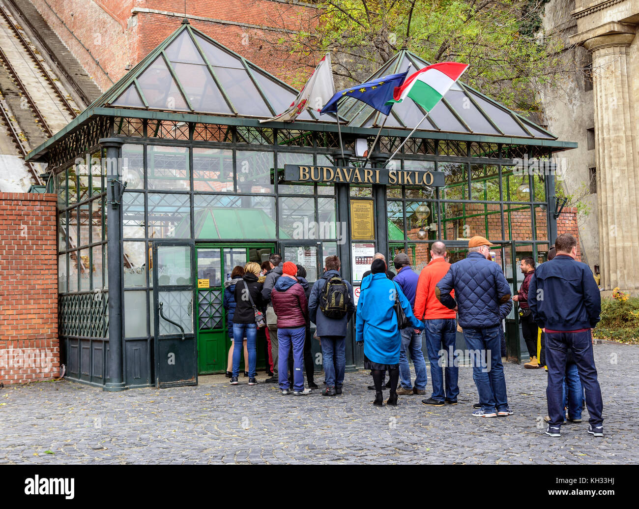 Tourists at the entrance to the funicular in Budapest. Stock Photo