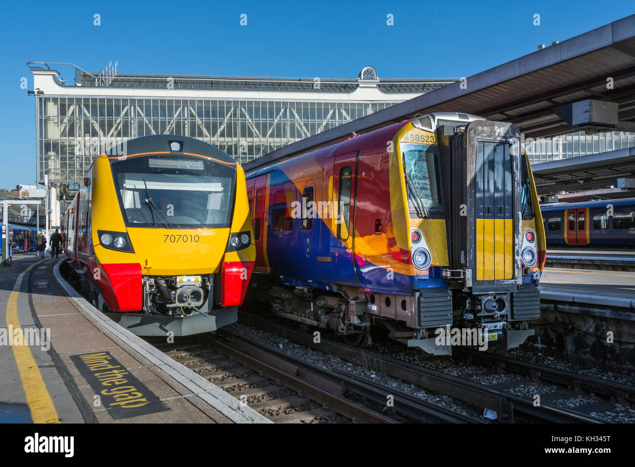 One of the new South Western Railway Class 707s trains at Waterloo station, London, UK. Stock Photo