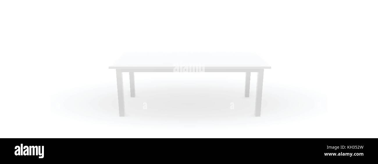 White table template with realistic shadow, 3d, vector illustrat - Stock Vector