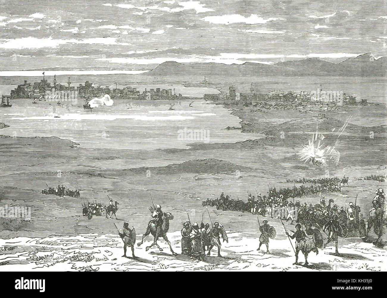 British war ship firing on rebels, Suakin, 1884, siege of Suakin, Sudan war - Stock Image