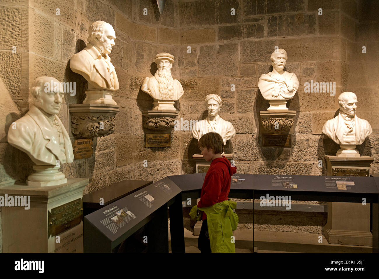 busts inside Wallace Monument, Stirling, Scotland, Great Britain - Stock Image