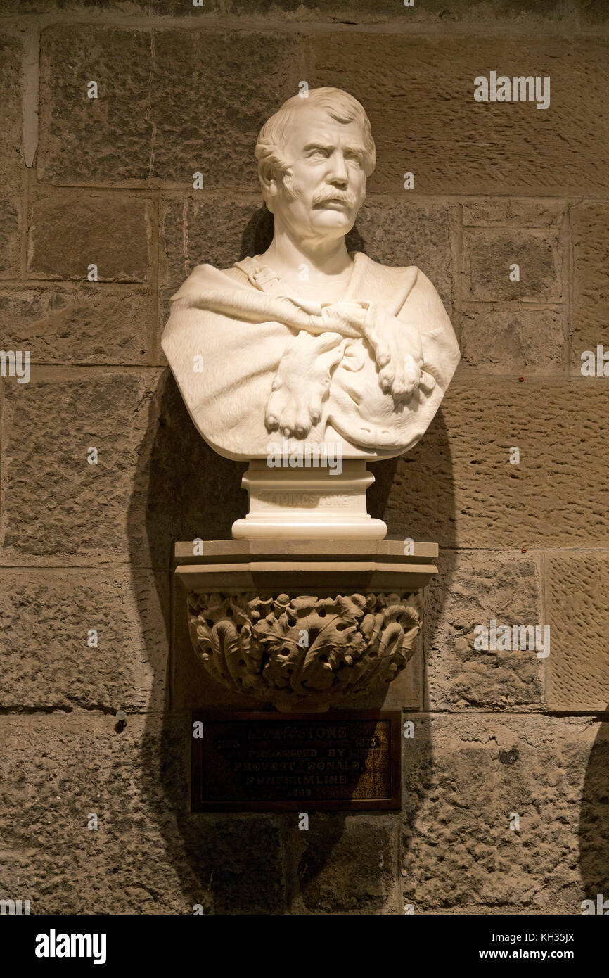 bust of David Livingstone inside Wallace Monument, Stirling, Scotland, Great Britain - Stock Image