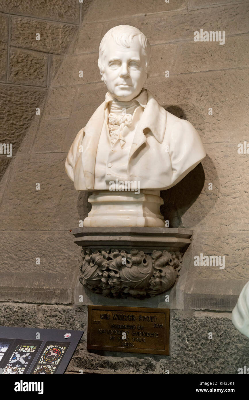 bust of Sir Walter Scott inside Wallace Monument, Stirling, Scotland, Great Britain - Stock Image