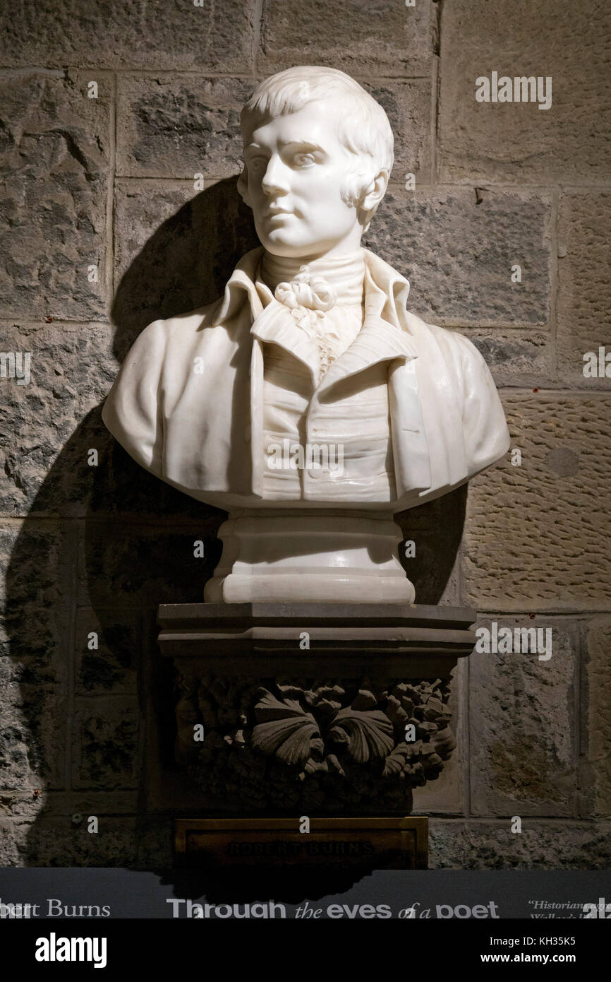 bust of Robert Burns inside Wallace Monument, Stirling, Scotland, Great Britain - Stock Image