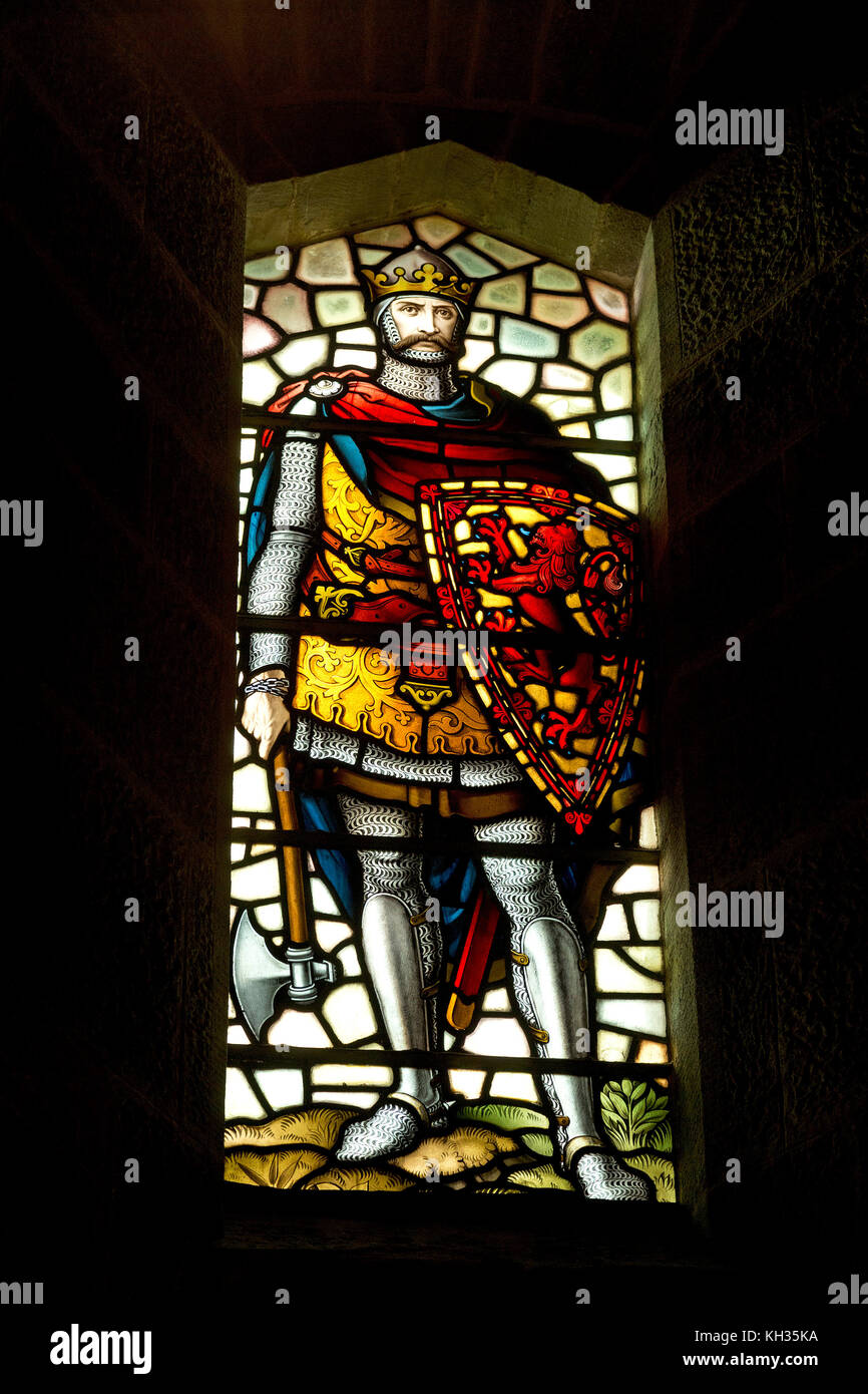 window inside Wallace Monument, Stirling, Scotland, Great Britain - Stock Image