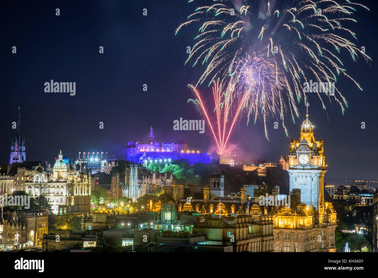 EDINBURGH, SCOTLAND - AUGUST 15, 2017 - The scenic summer fireworks in Edinburgh during the Royal Military Tattoo Stock Photo