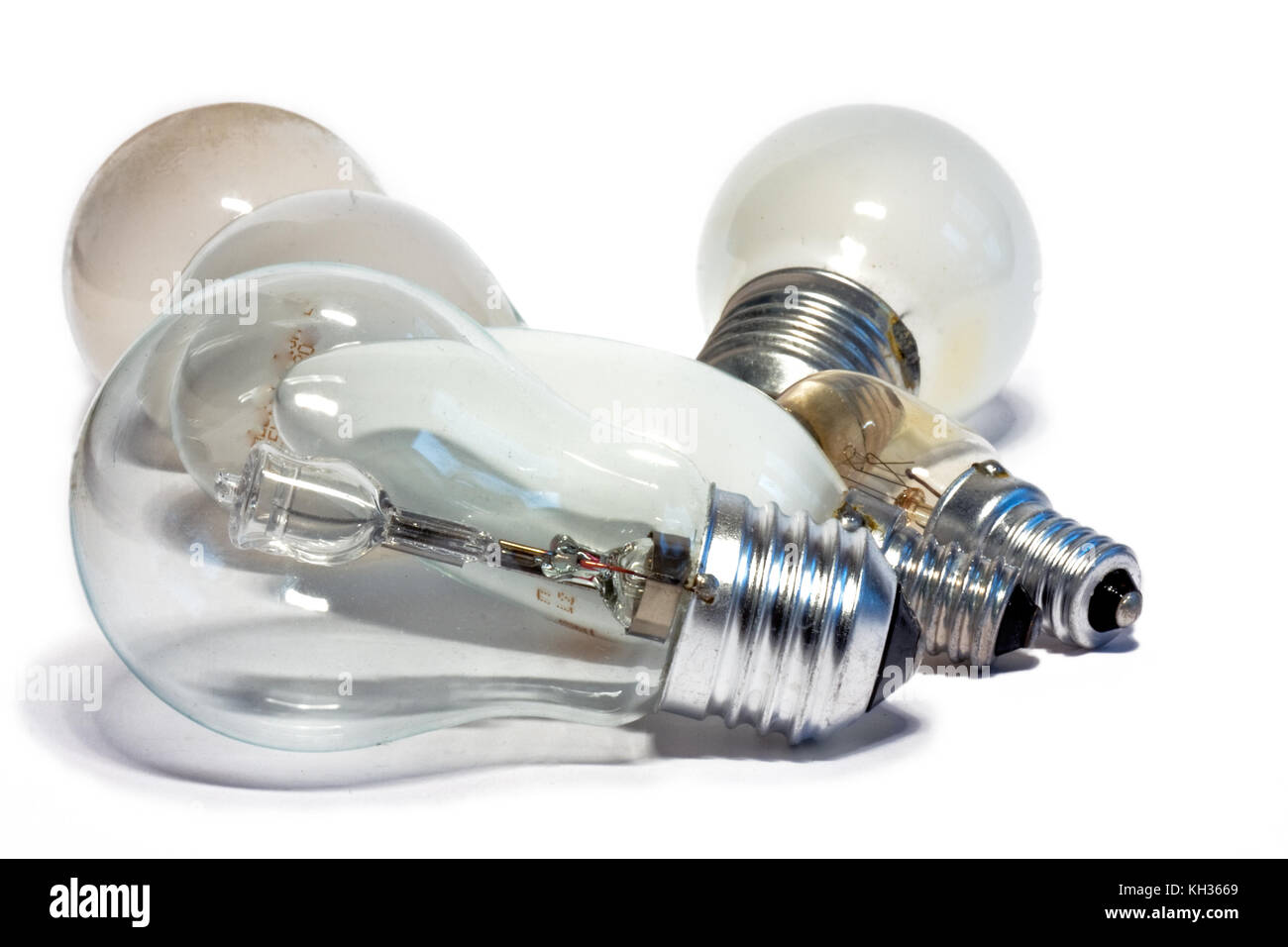 Six light bulbs on a white background - Stock Image