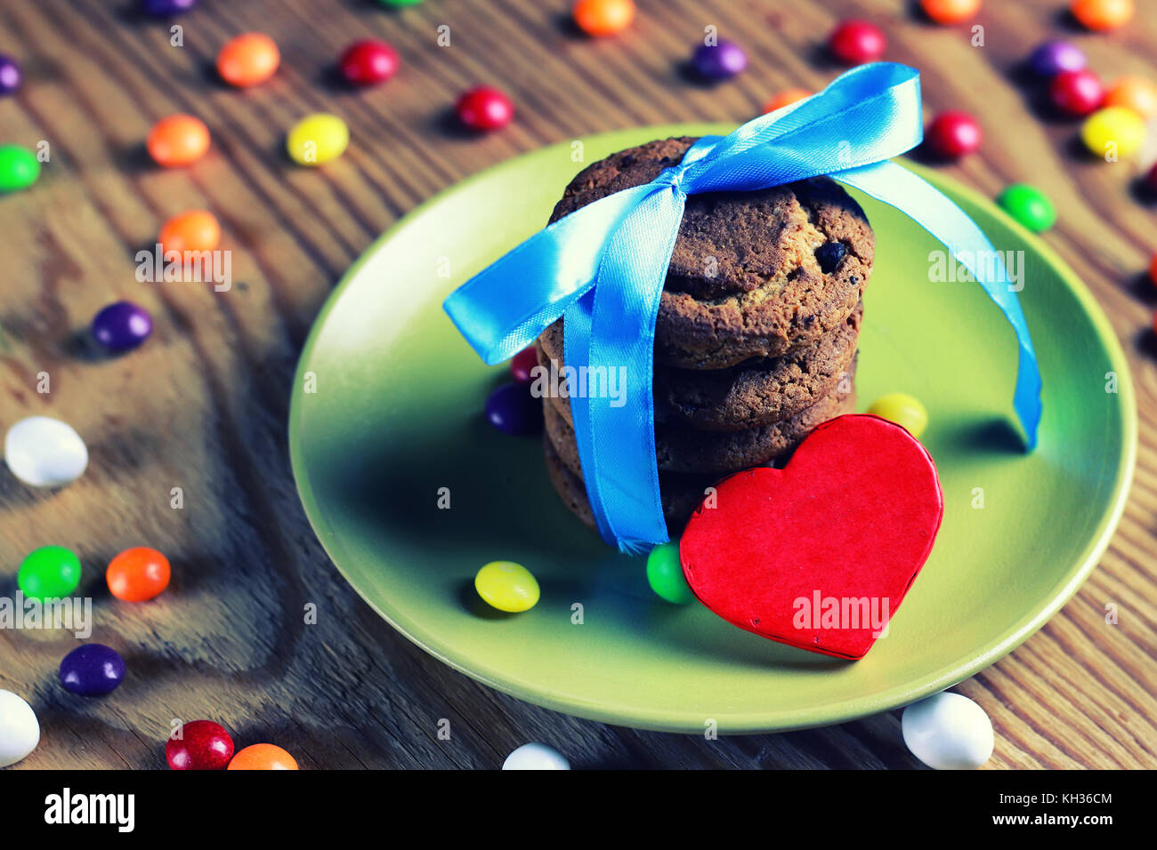 chocolate cookies ribbon candy - Stock Image