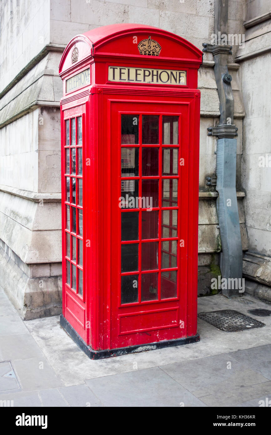 Kiosk No.2 K2 red telephone box  in the City of London, UK - Stock Image