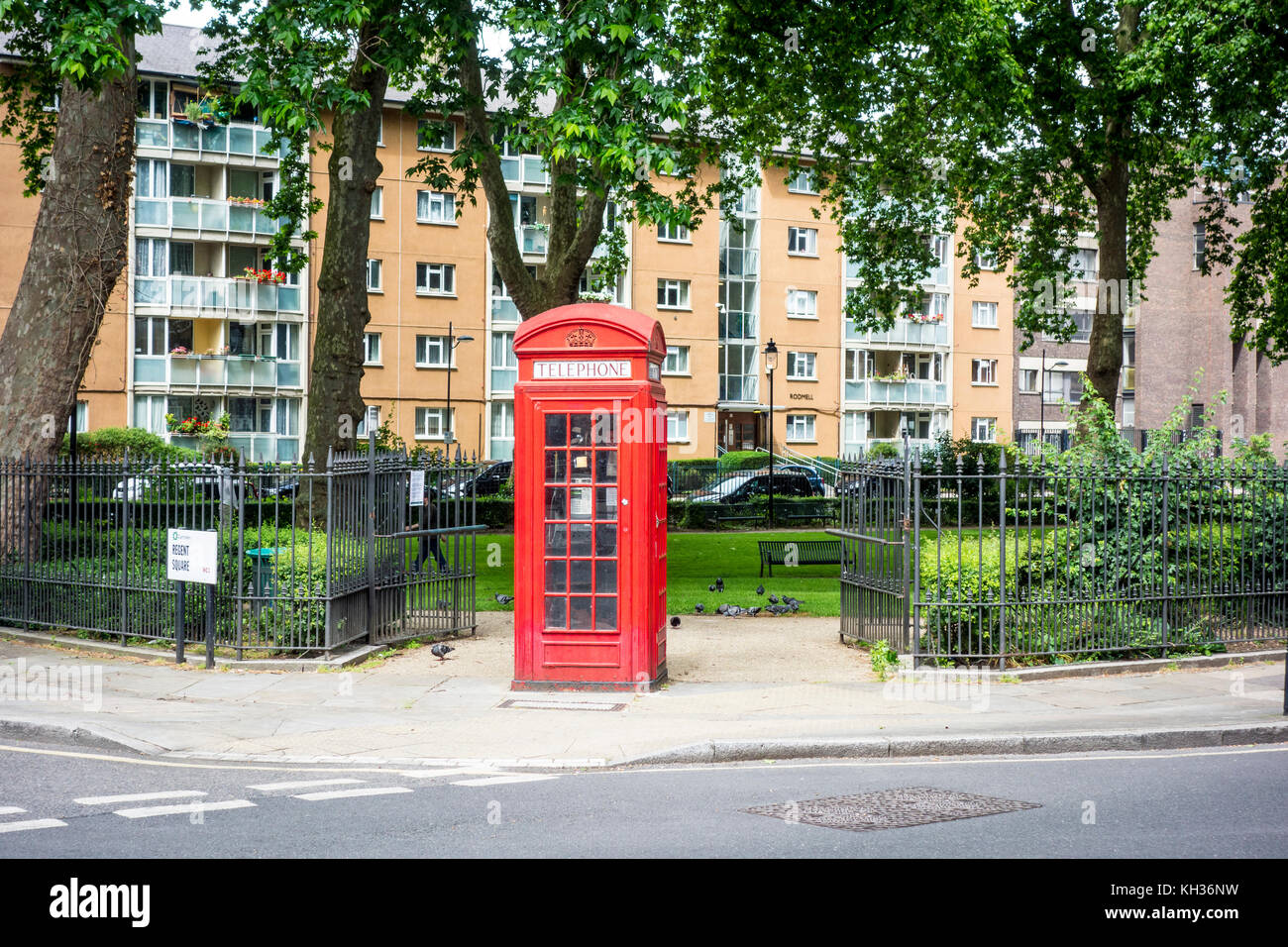 K2 red telephone box phone box in Regent Square Gardens, London, UK - Stock Image