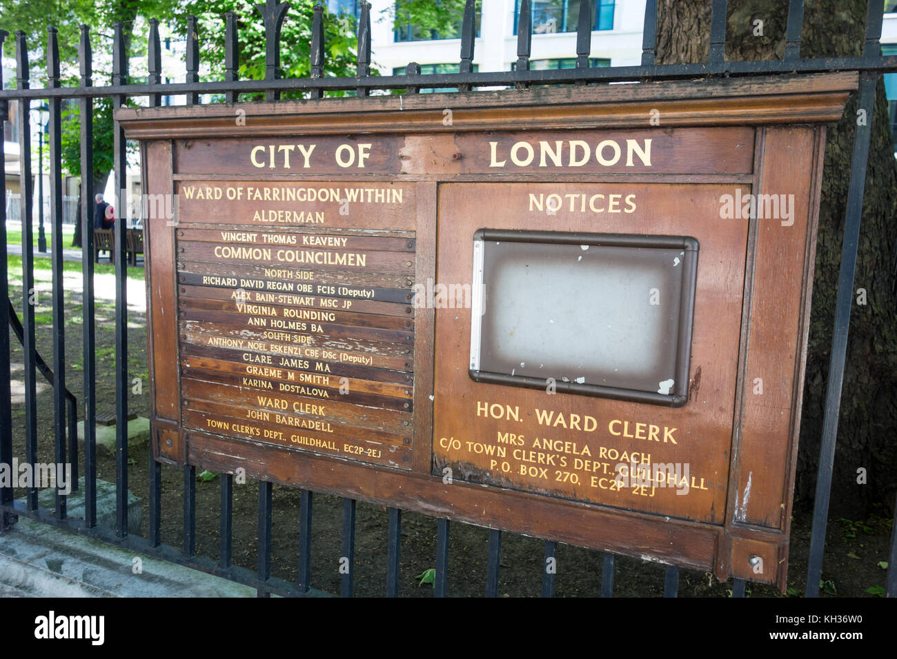 Ward of Farringdon Within list of Alderman notices notice board, City of London, UK - Stock Image