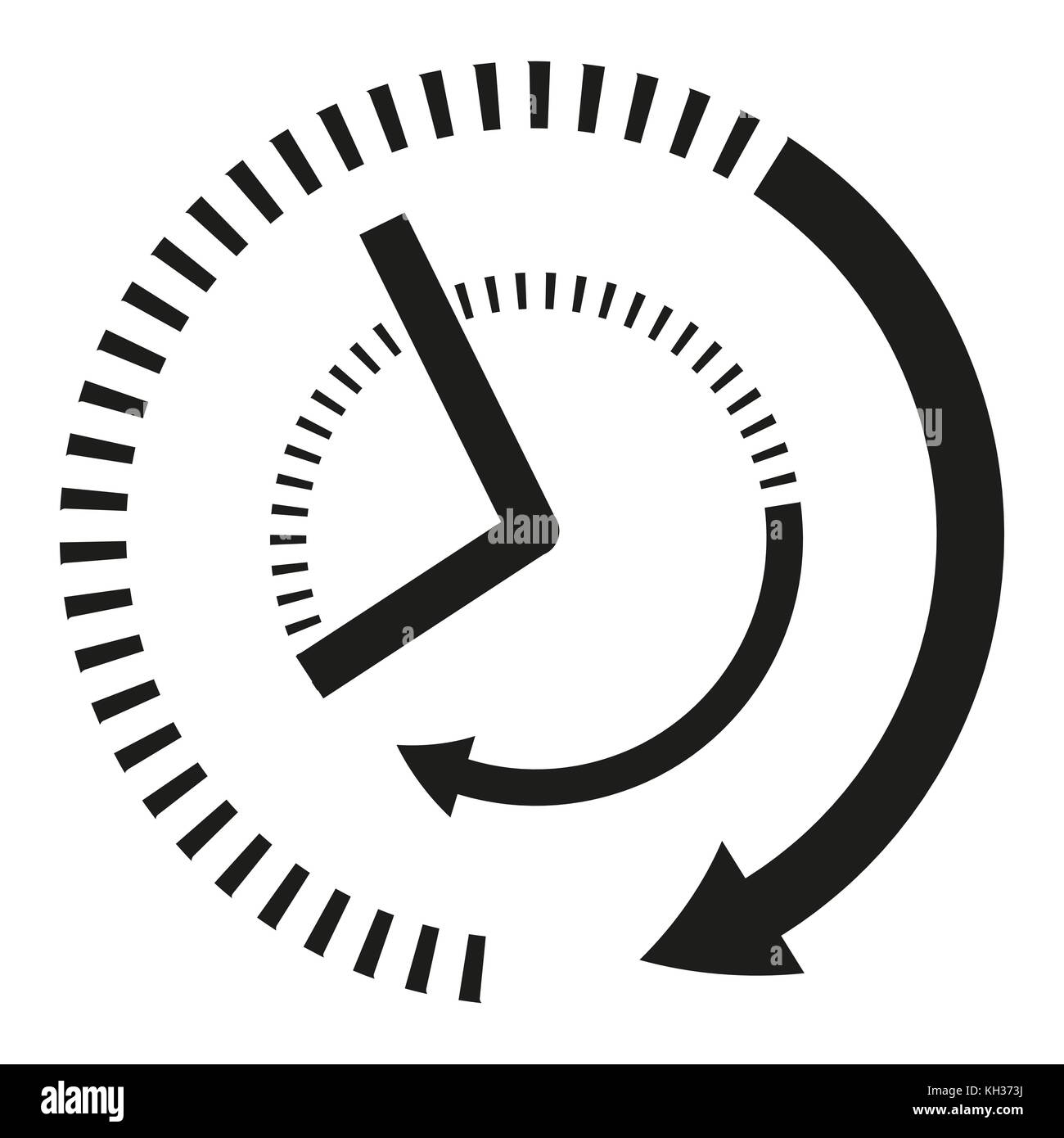 Icon clock hands in black and white - Stock Image