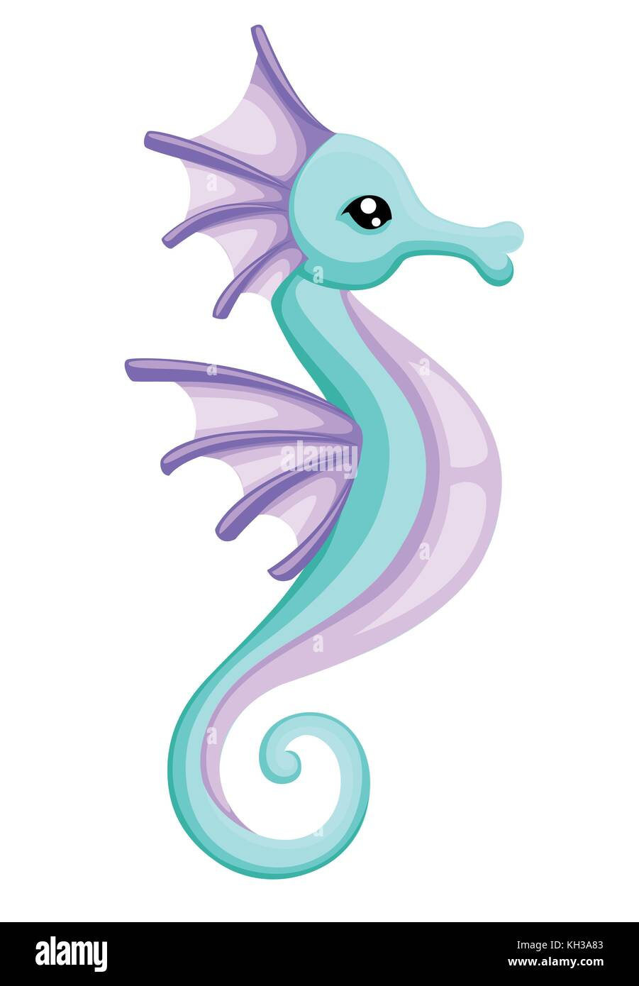 Vector Cute Cartoon Seahorse For Your Design Isolated On White Stock Vector Image Art Alamy