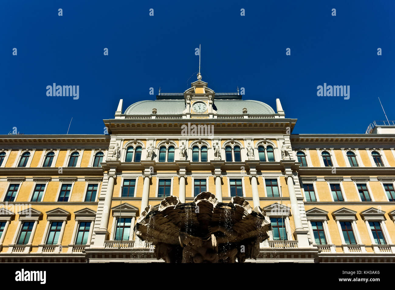 Central Post Office and Middle European Postal and Telegraph Museum, Piazza Vittorio Veneto Square. Trieste, Italy, - Stock Image