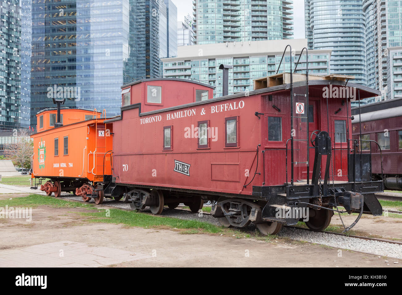 Toronto, Canada - Oct 11, 2017: Historic waggons at the Railway Museum in Roundhouse Park in Toronto. Province of - Stock Image