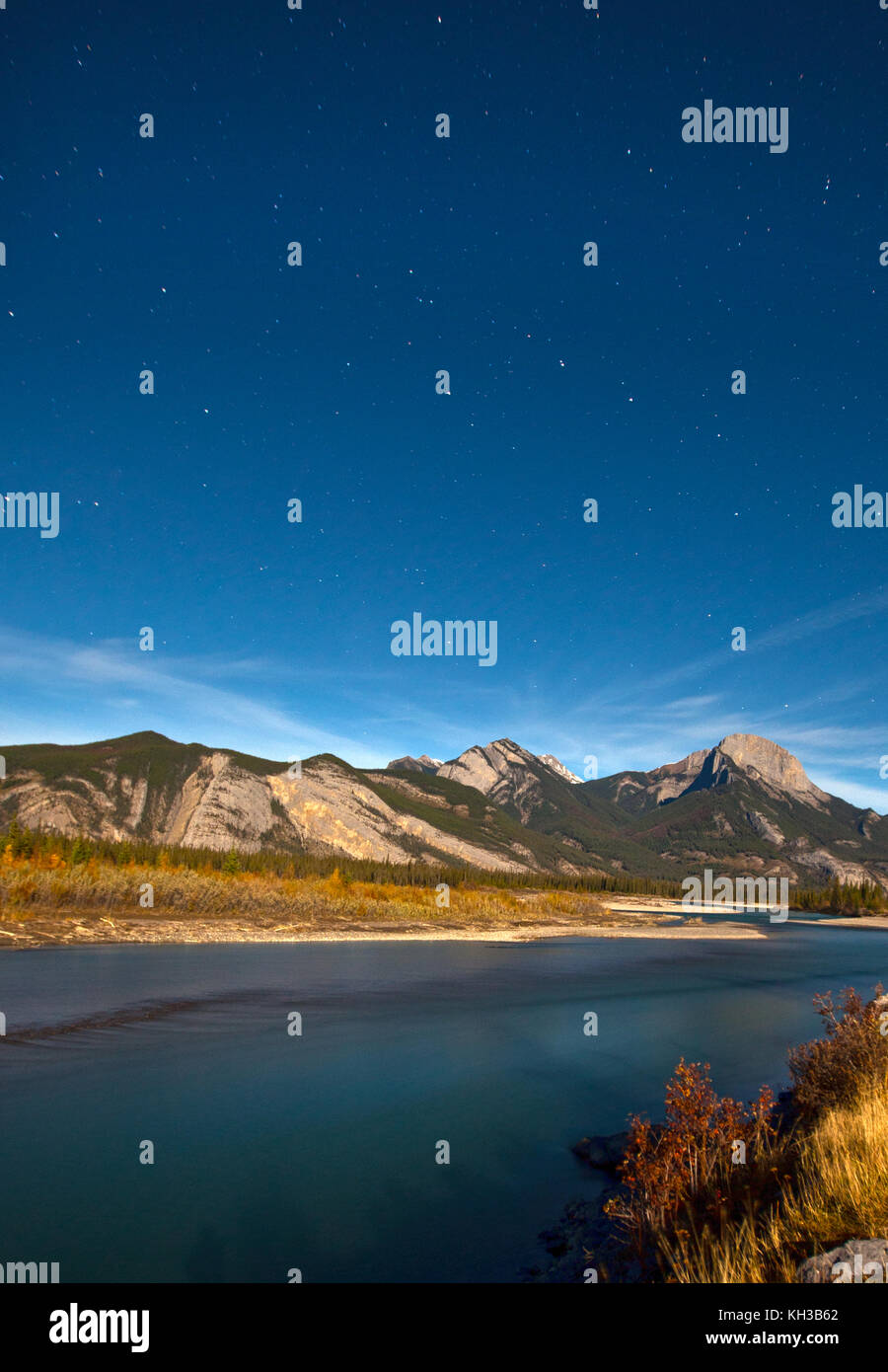 stars and constellations above the rocky mountains - Stock Image