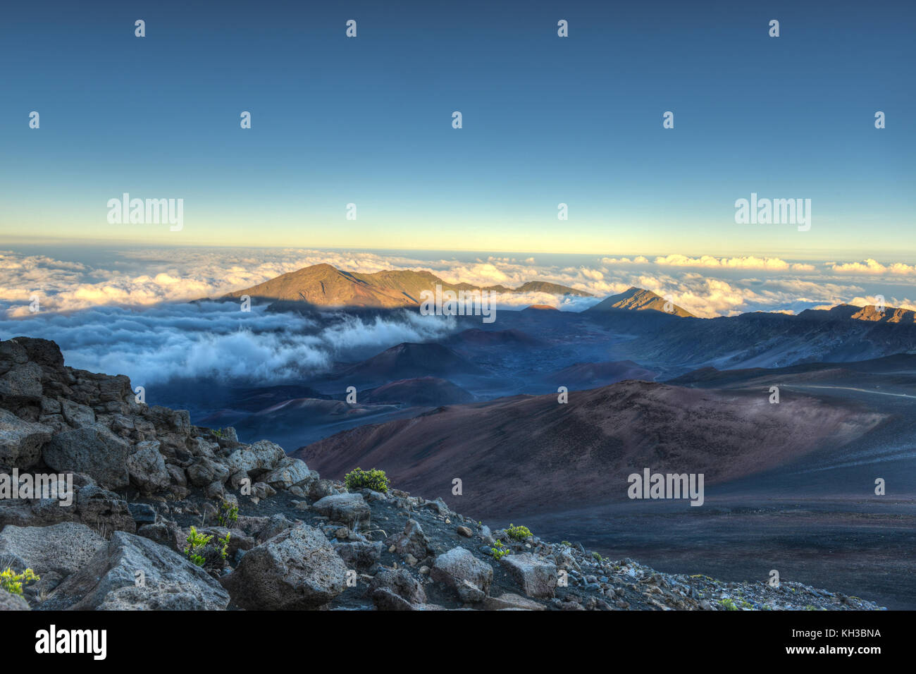 Caldera of the Haleakala volcano (Maui, Hawaii) at sunset. Stock Photo