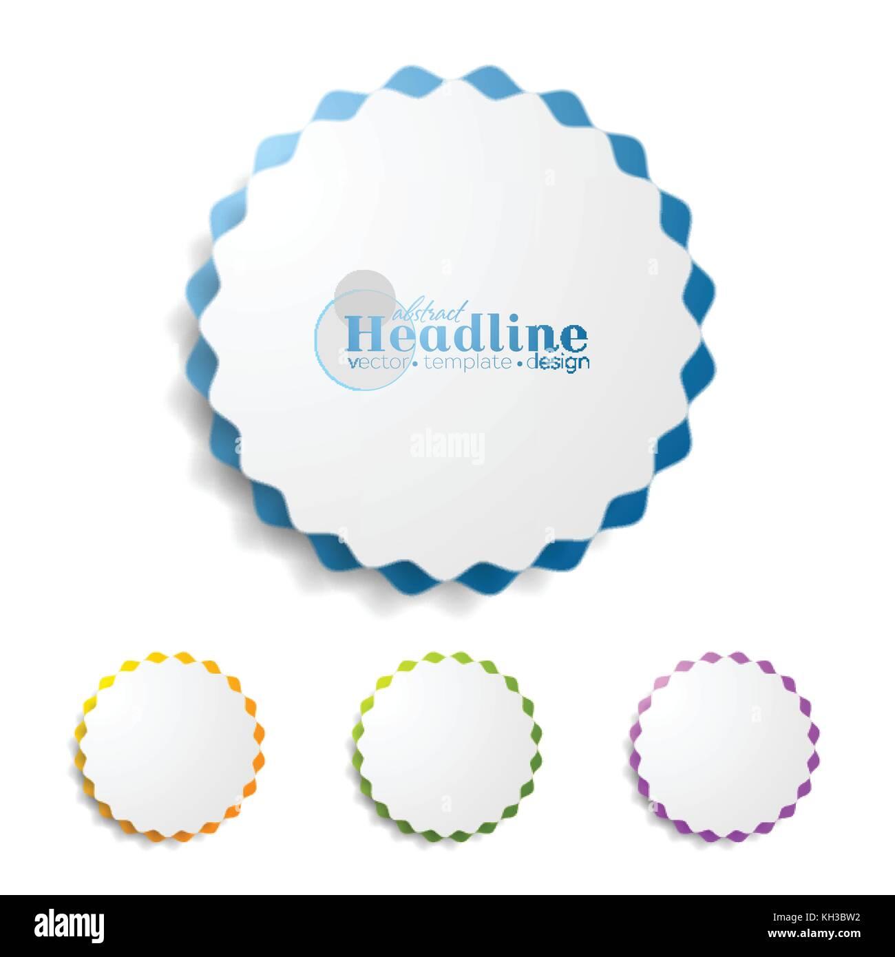 Abstract wavy round sticker label graphic design vector background